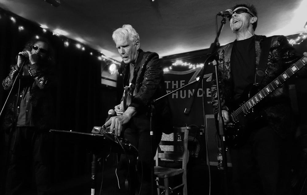 Left to right: Park Doing, Johnny Dowd, Mike Edmondson. The Thunderbolt; Bristol, UK. April 11, 2019. Photo by Jane Barnes.