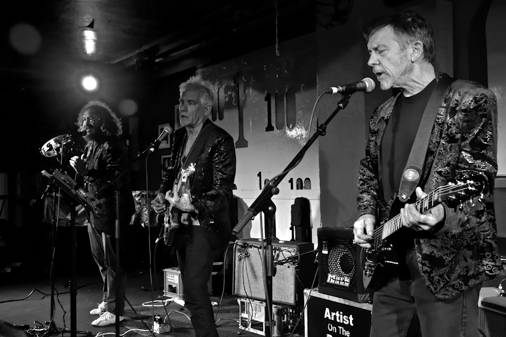 Left to right: Park Doing, Johnny Dowd, Mike Edmondson. The 100 Club; London, UK. April 8, 2019. Photo by Gary Williams.