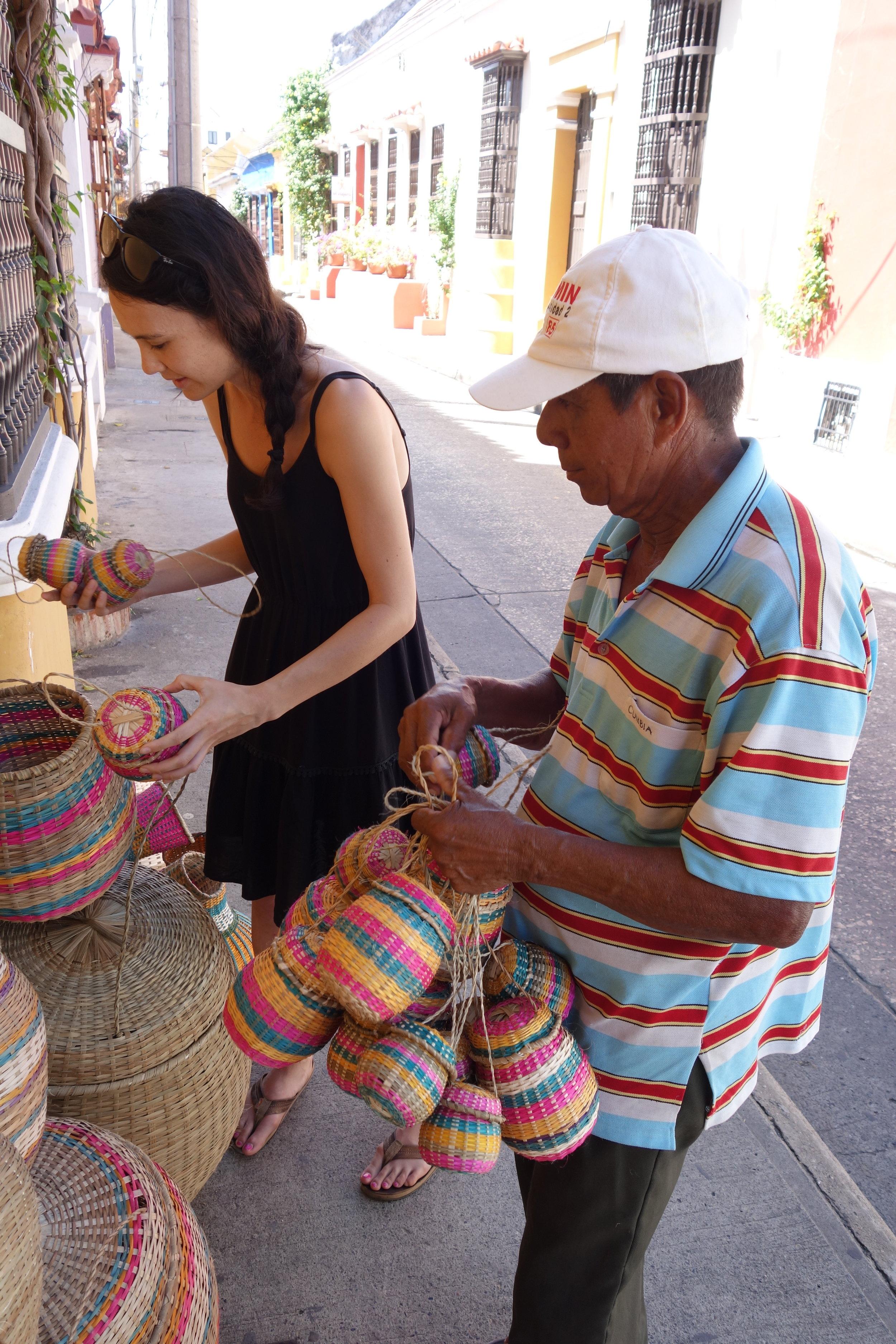 Elise buying baskets
