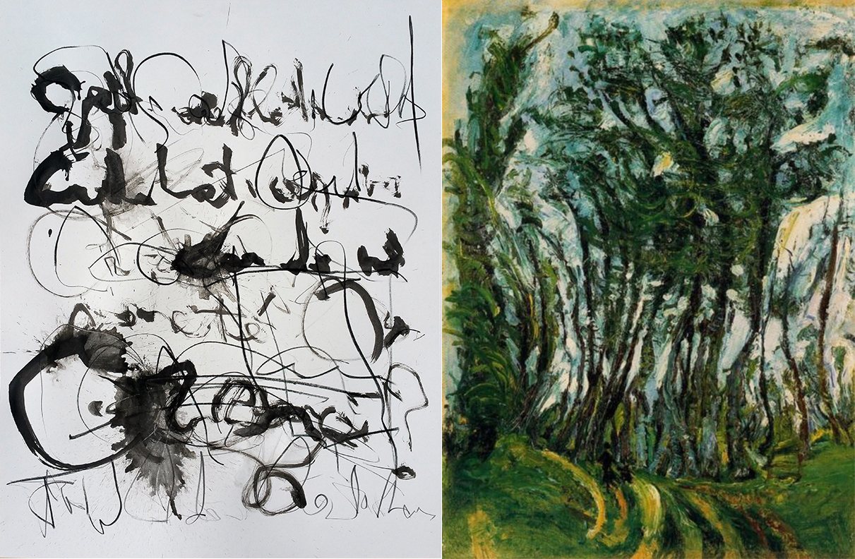 Left: CHANNELING SOUTINE'S HANDWRITING, D.Pavlotsky (2016), ink on paper, 24x18 in Right: AUTUMN TREES, CHAMPIGNY, C.Soutine (1942), Oil on canvas