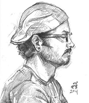"""Marc Scheff, 2.5x3"""" pencil"""
