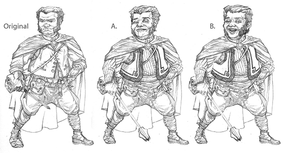 "Sketch variations for ""Guild Artisan"""