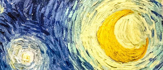 """Starry Night"" (detail) by Vincent Van Gogh. I know there's no real ""supposed to look"" about painting, but if you're starting out, really, don't start here. Move there later if you'd like."
