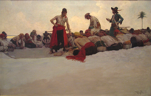 """Howard Pyle's """"So the Treasure Was Divided"""", 19x29"""" oils on canvas"""
