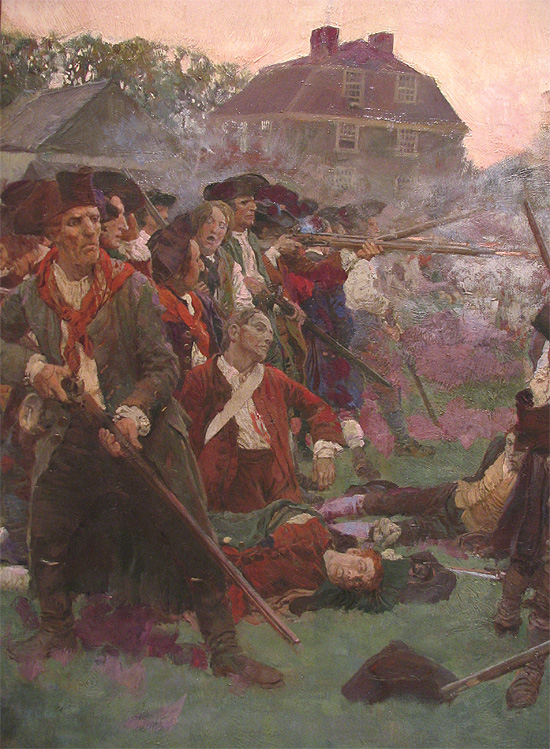 """Pyle's """"The Fight on Lexington Common"""" (detail) Is that John Kerry at left?"""