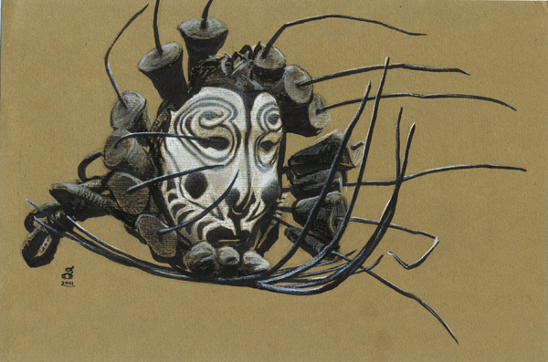 "Sepik Region Mask, 6x9"" Ink, conte on paper"