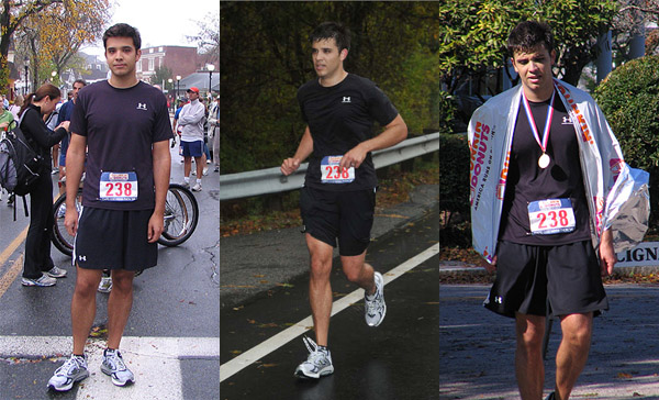 L: 8:15am, still waking up C: about mile 16 or so, still alive R: 1pm, ready for bed again