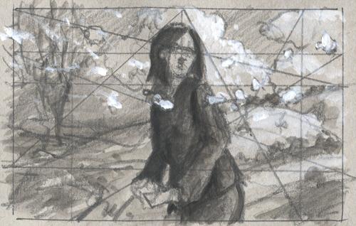 "Thumbnail sketch, 4x2.5"" pencil and acrylic"