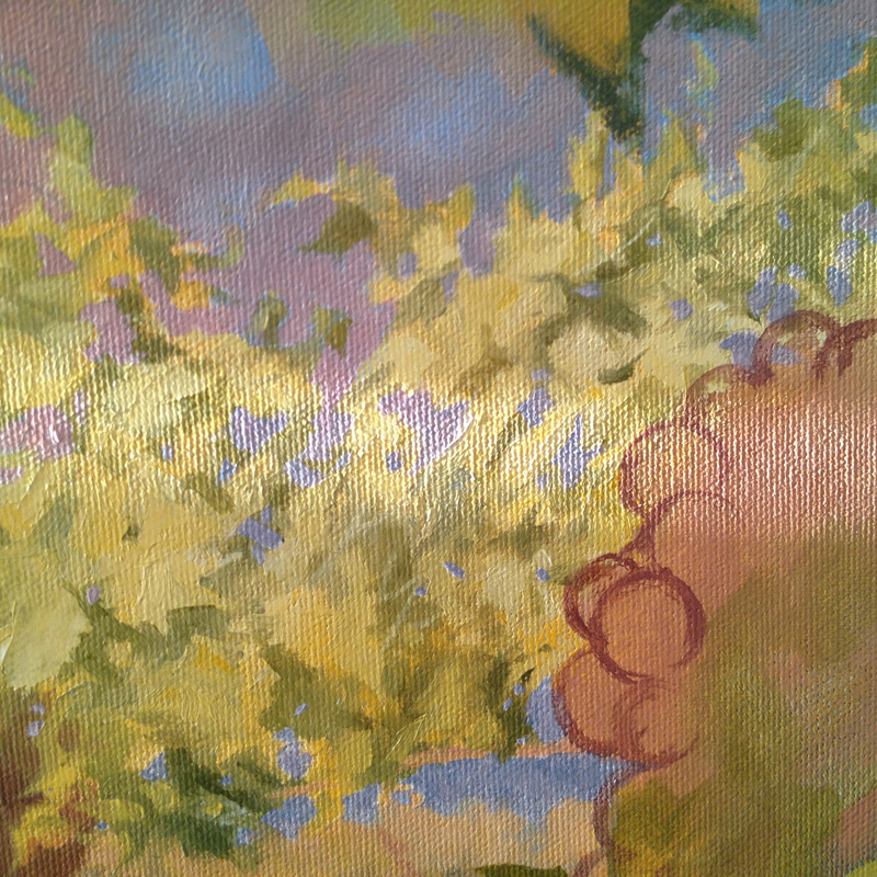 Walked into the studio one morning with the morning light raking starkly across the in-progress canvas