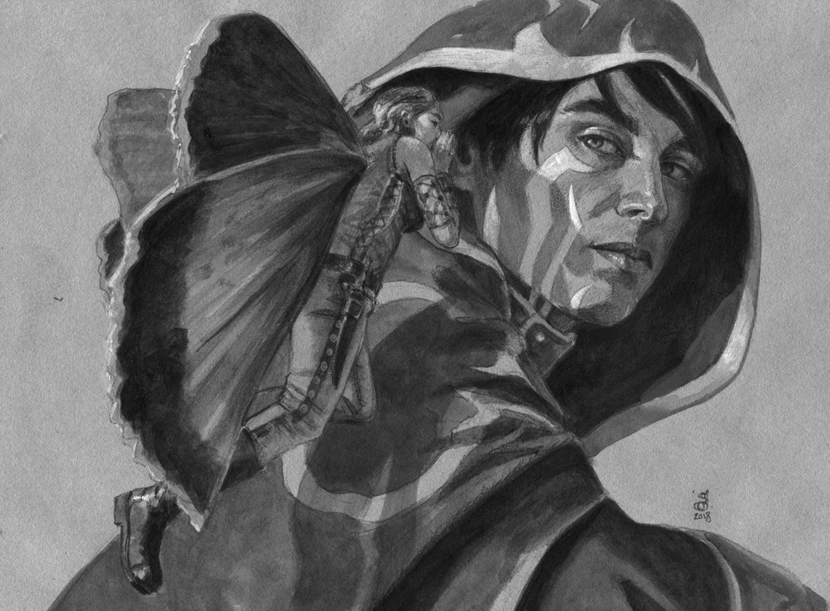"Guildpact Informant, study 6.25"" x 8.5"" acrylic and pencil on toned paper"