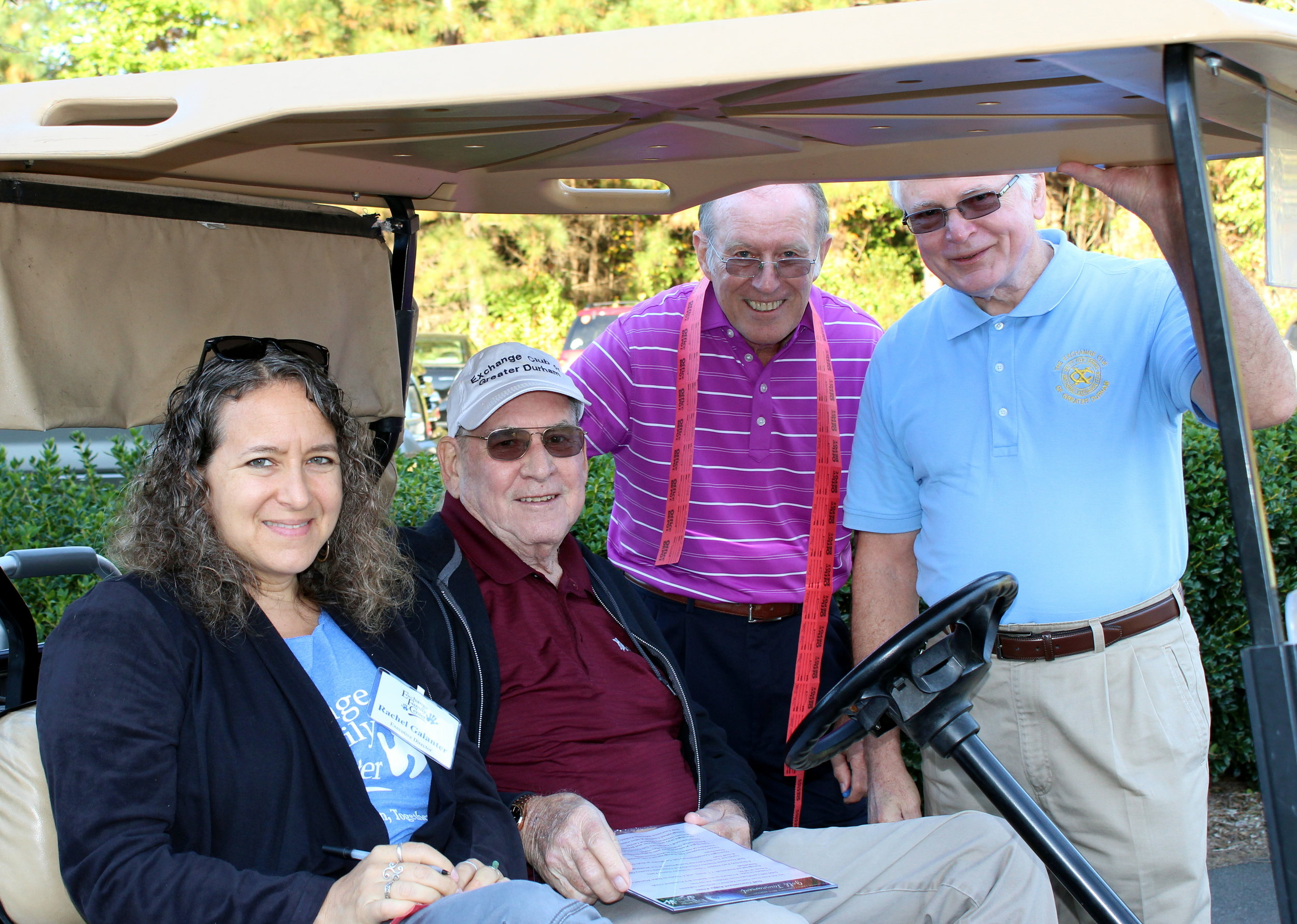 Rachel Galanter (Executive Director), Jim Barringer (Board member, Foundation settlor, and one of EFC's founders), Jerry Dodd (Board member, Foundation settlor, and Golf Committee Chair), and Ken Gregory (Foundation settlor) enjoy each other's company prior to tee off.
