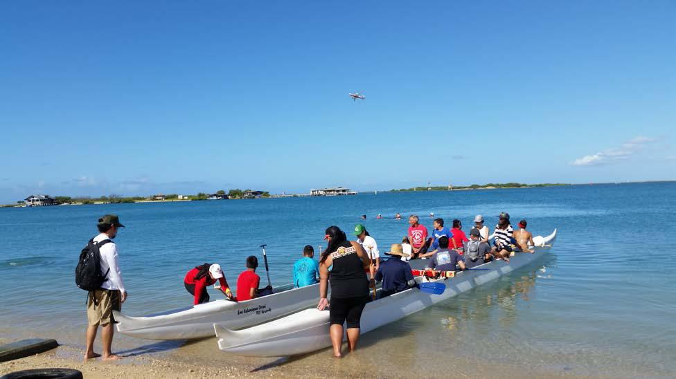 Summer 2016 Newsletter - August 20, 2016 Community Service Event at Mokauea Island Restoration Project. Volunteers Loading up to Paddle to Mokauea.