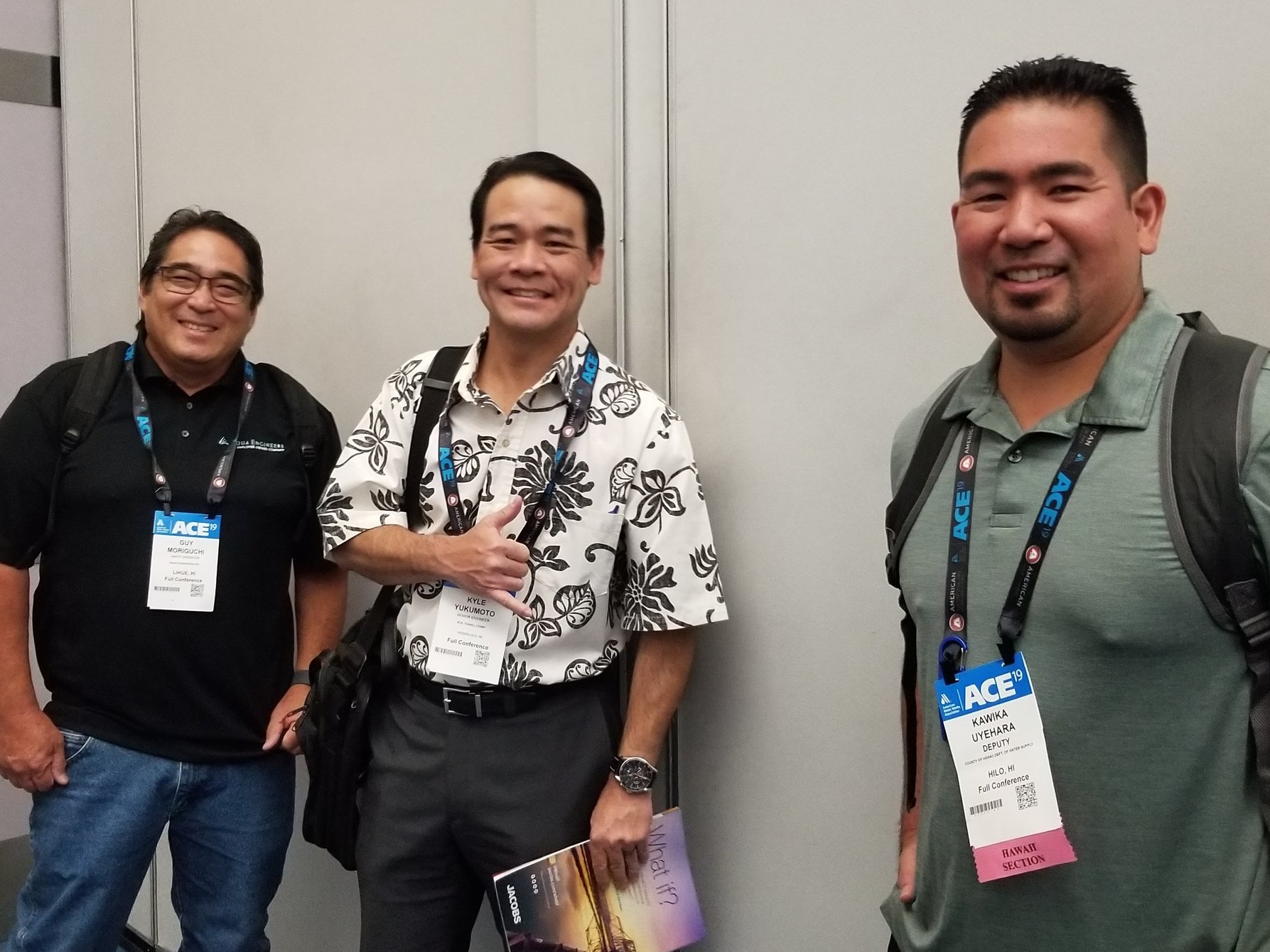 Guy Moriguchi, Kyle Yukumoto, and Kawika Uyehara between sessions.