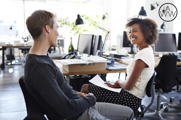Girl and Guy Talking at Work Muse 2.png