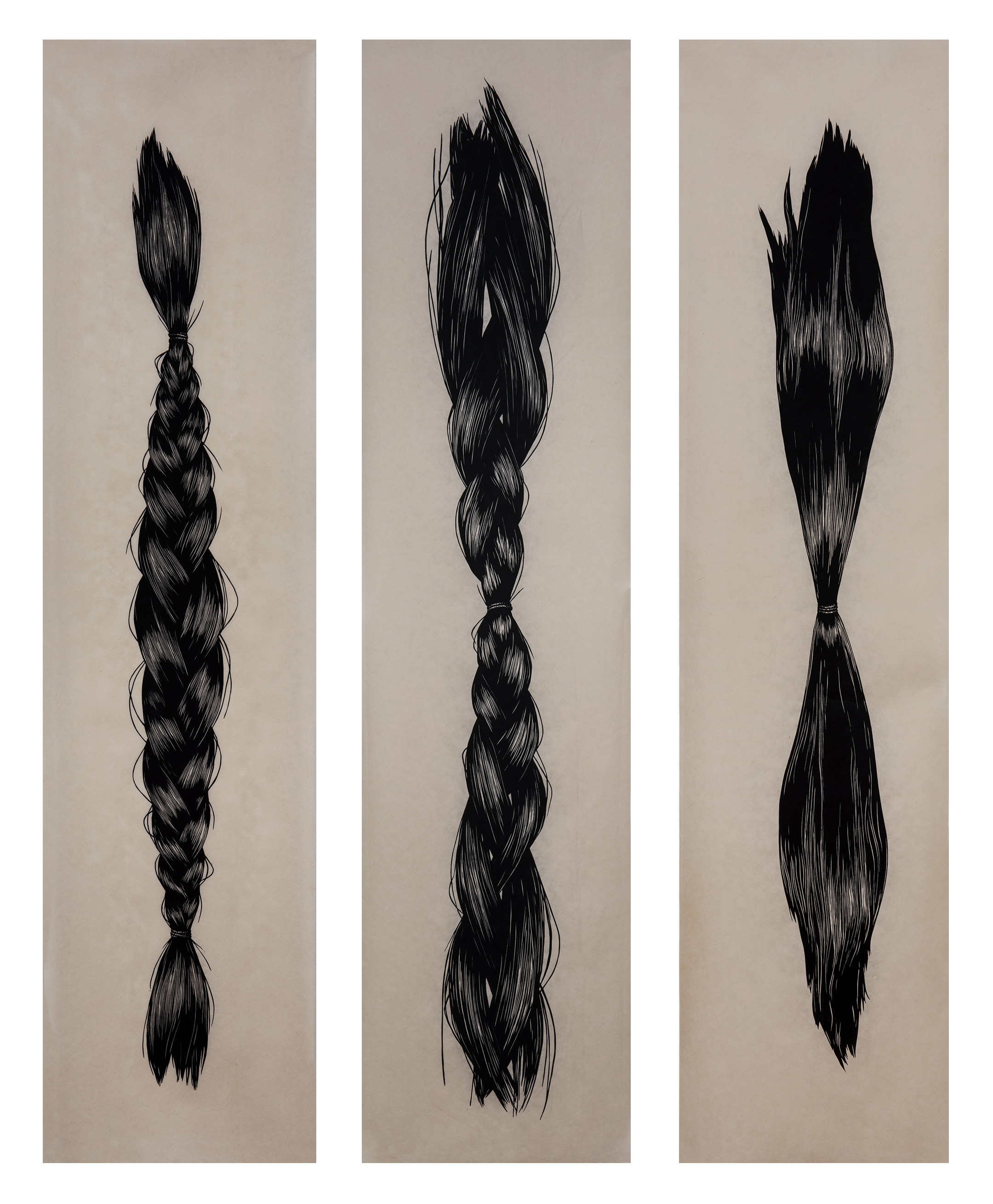 Hair in a braid, Loosening Braid, and Gathered Hair
