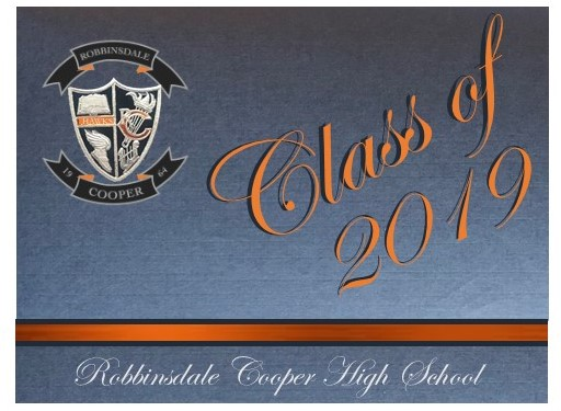 Front Cover-   graduation announcement features the new Cooper crest, silver navy and orange accents with Class of 2019 & school name.