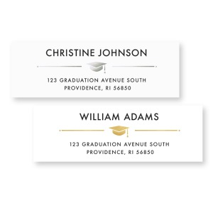 Return Address Labels:   Make sending announcements and grad party invites a breeze with graduation return address labels! Gold to match announcement.