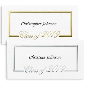 Foil Border Name Cards:   Placed inside your graduation announcement to personalize to the student- most use full name including middle. Foil will be gold to match announcement.