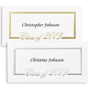 Foil Border Name Cards:   Silver foil to match Eagan Announcement.