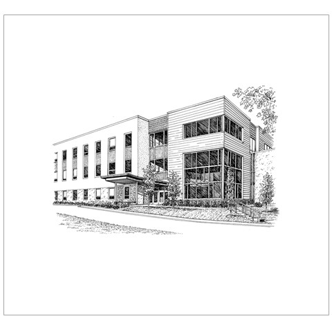 Inside left view of announcement - school building etching.