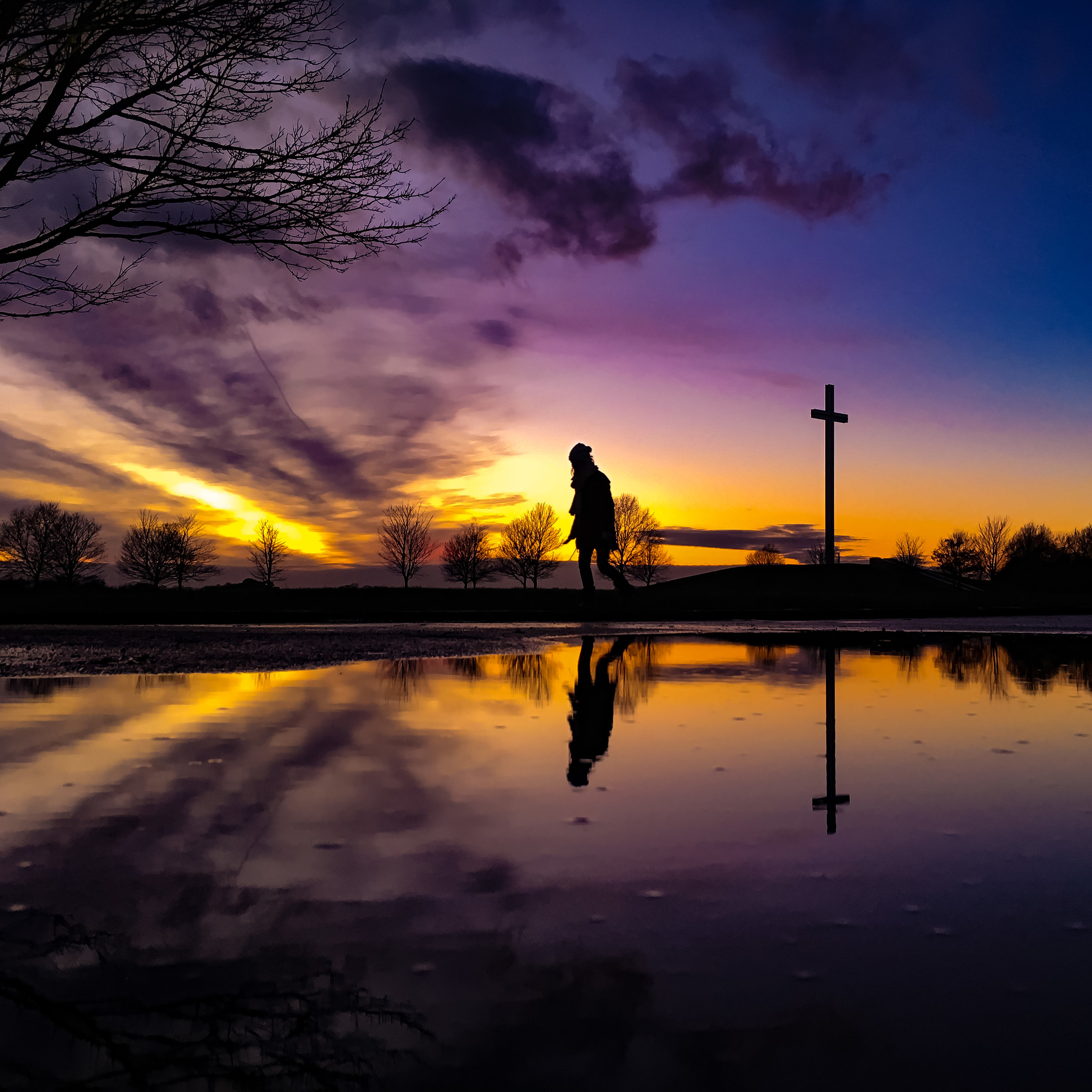 Reflections - at the Papal Cross at dusk. The Phoenix Park, Dublin.