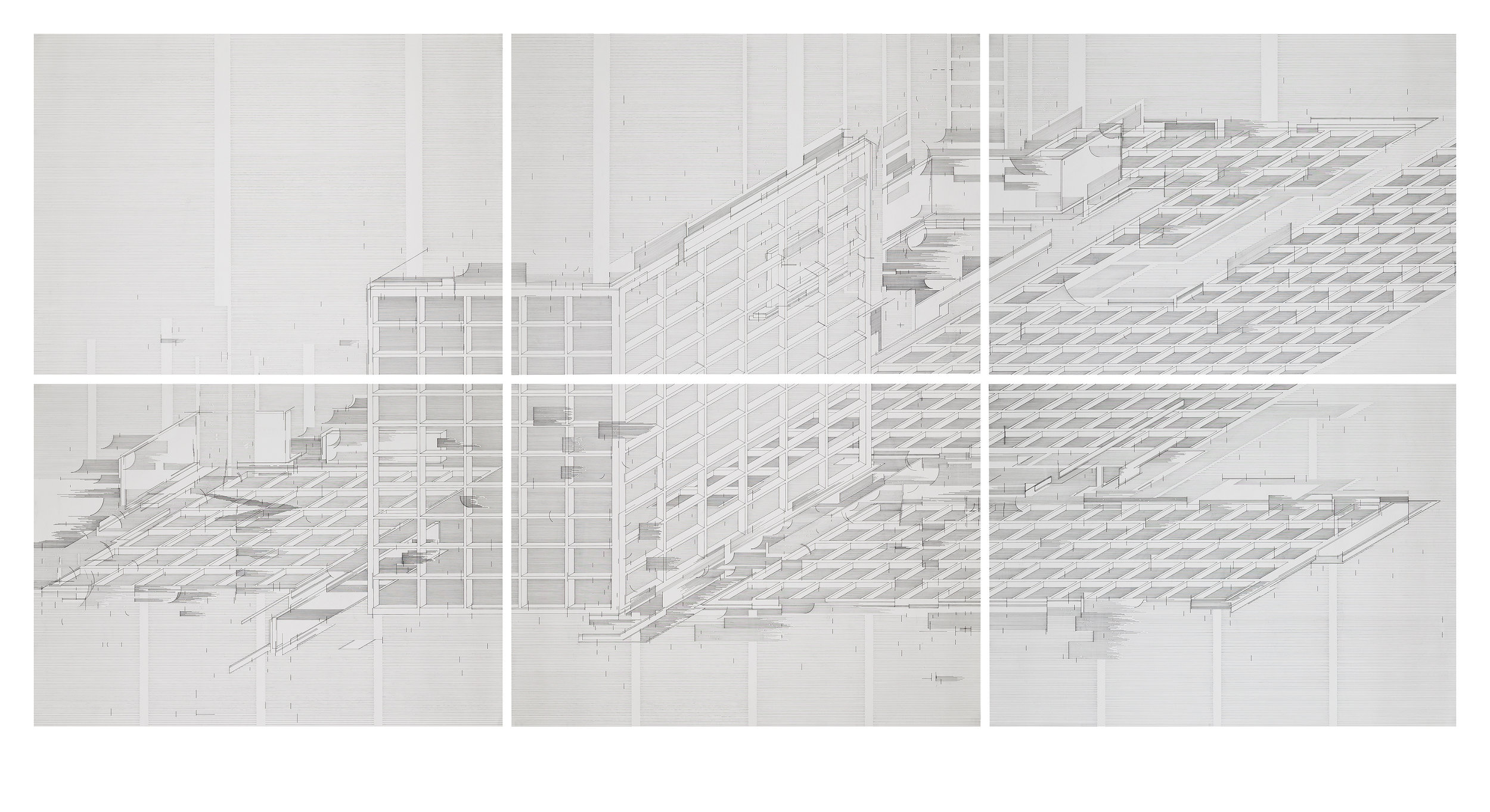 Seher Shah,  Flatlands (corner) , 2016, 6-panel ink on paper, 31 x 43 in (79 x 109 cm) each panel, 62 x 129 in (157 x 327 cm) full dimension