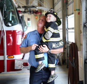 Jordan McLinn with his firefighter brother, JD Waldrip. Jordan is an honorary firefighter and he's also battling Duchenne Muscular Dystrophy, a fatal and progressive muscle wasting disease. Best Day Ever Foundation is grateful to have Indianapolis Fire Department as a community partner. The experiences Jordan and his family have had through the fire department have been an inspiration for our community & family partnership program!