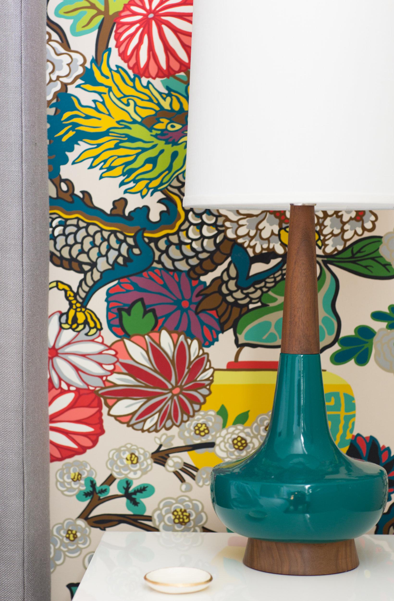 chian mai dragon wallpaper schumacher danish mid century lamp nightstand
