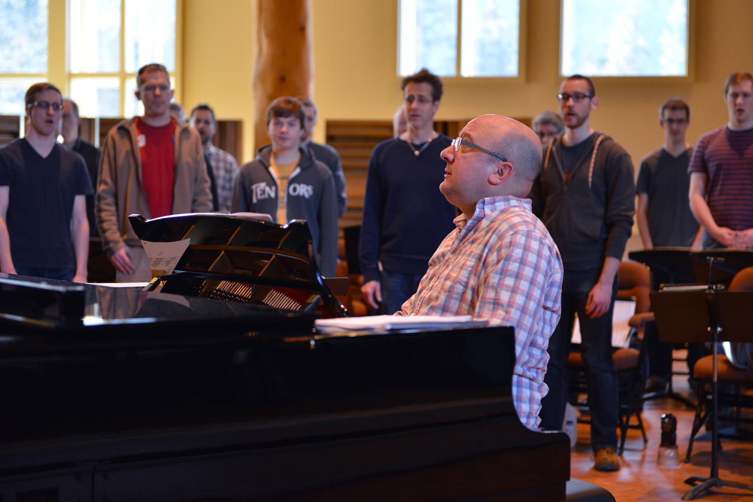 Spiritus warms up for a grueling day of rehearsal, polishing pieces for their upcoming recordings and learning new music for their upcoming concert,  Ice and Fire  where they will be premiering a new work by composer Carmen Braden.