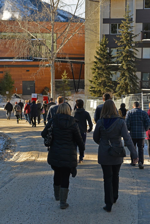 The choir takes a short walk toward the Vistas Dining Hall for lunch break