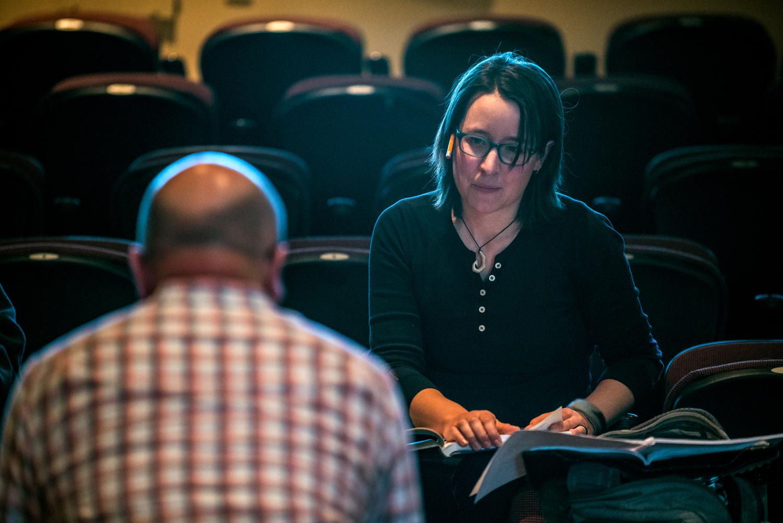 Composer, Carmen Braden discusses executional nuances with Spiritus Artistic Director, Timothy Shantz