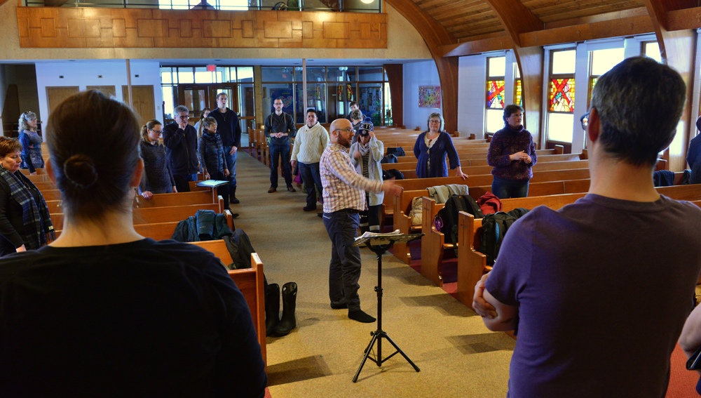 Our first rehearsal at St. Patricks Catholic Church in Yellowknife