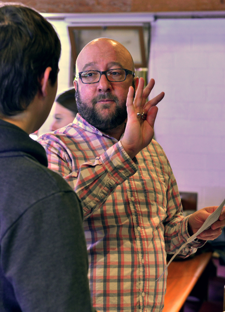 """Timothy Shantz, Spiritus Artistic Director, coaching Carson Moore (soloist) on nuances for """"Frobisher Bay""""."""
