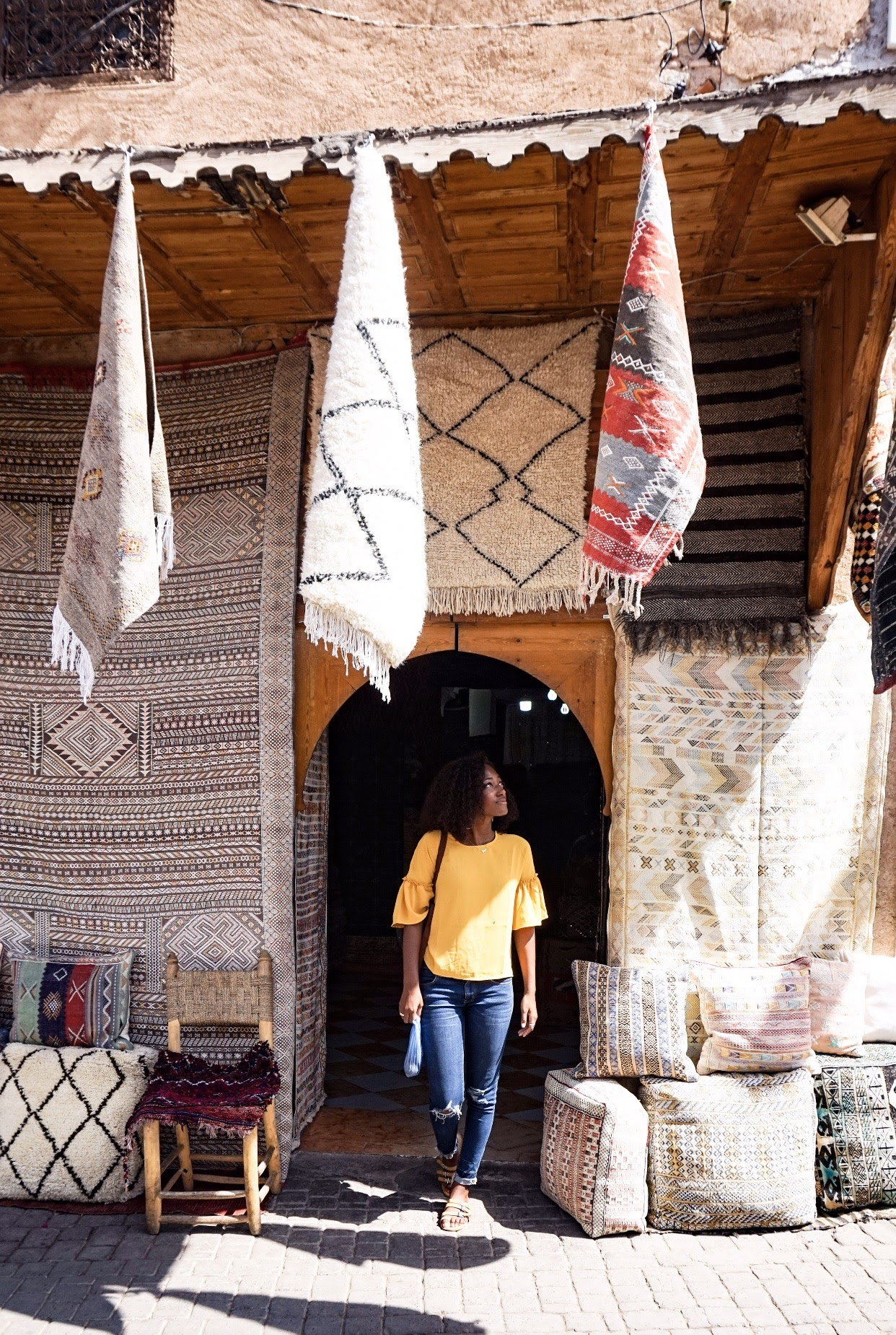 The owner of this rug store in Marrakesh, Morocco actually offered to take this photo of me. I was really grateful!
