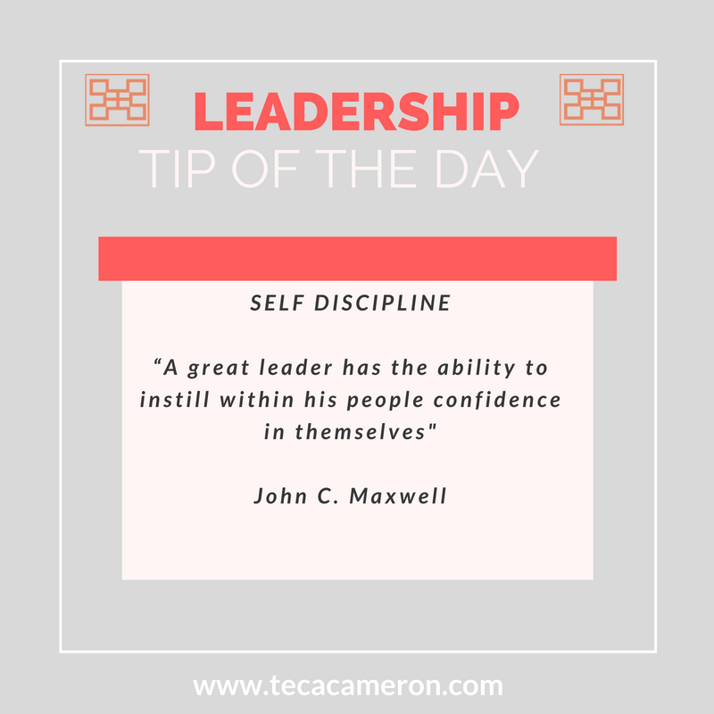 Developing the leader within you and the leaders around you calls for a great deal of self discipline.  In the book Developing the Leaders Around You, John Maxwell teaches that great leaders always have self discipline.  Potential leaders typically demonstrate self discipline in the areas of time (how they use and manage it) as well as in their emotions.  If you want to lead well, take stock of how you are using your time. Are you setting short and long term goals for yourself to make the most effective use of your time?  As well, do you know how to take control your emotions especially as it relates to others?  Self discipline is a must.  When a leader exercises self discipline they demonstrate to others that they are choosing to make the necessary sacrifices required to succeed.  Be a leader that leads by example.  Have a great weekend,