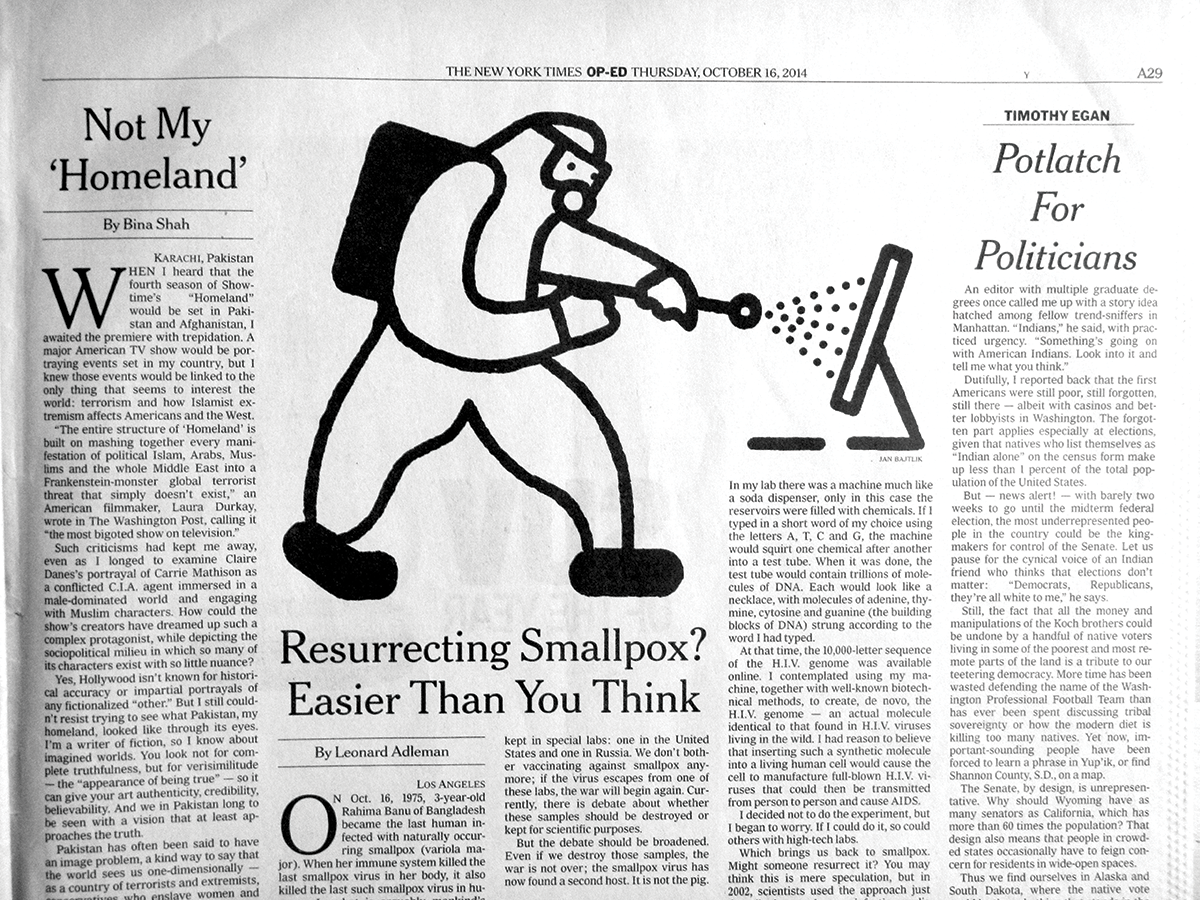"""illustration for The New York Times, """"Resurrecting Smallpox? Easier Than You Think"""", Op-ed, 16.10.14   http://www.nytimes.com/2014/10/16/opinion/resurrecting-smallpox-easier-than-you-think.html"""