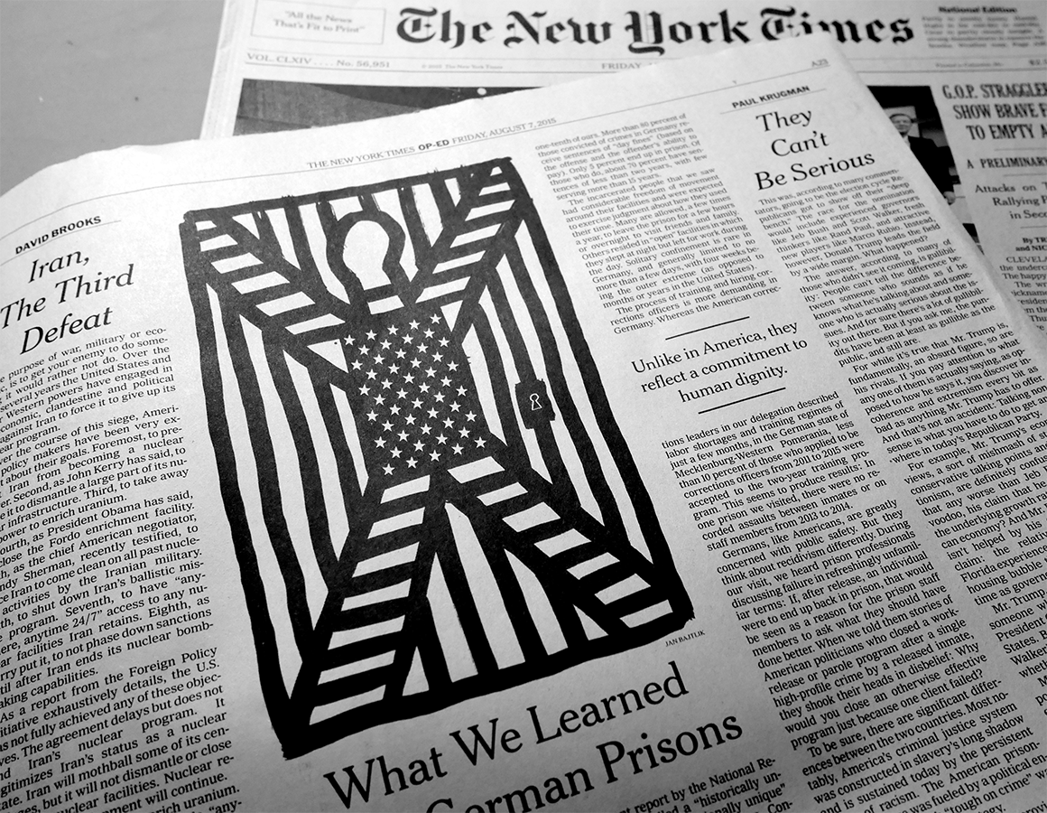 """illustration for The New York Times, """"What We Learned From German Prisons"""", Op-ed, 6.8.15   http://www.nytimes.com/2015/08/07/opinion/what-we-learned-from-german-prisons.html"""
