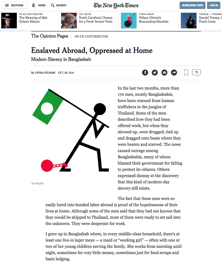 """illustration for The New York Times, """"Enslaved Abroad, Oppressed at Home"""", Op-ed, 29.10.14   http://www.nytimes.com/2014/10/30/opinion/linka-pelham-modern-slavery-in-bangladesh.html"""