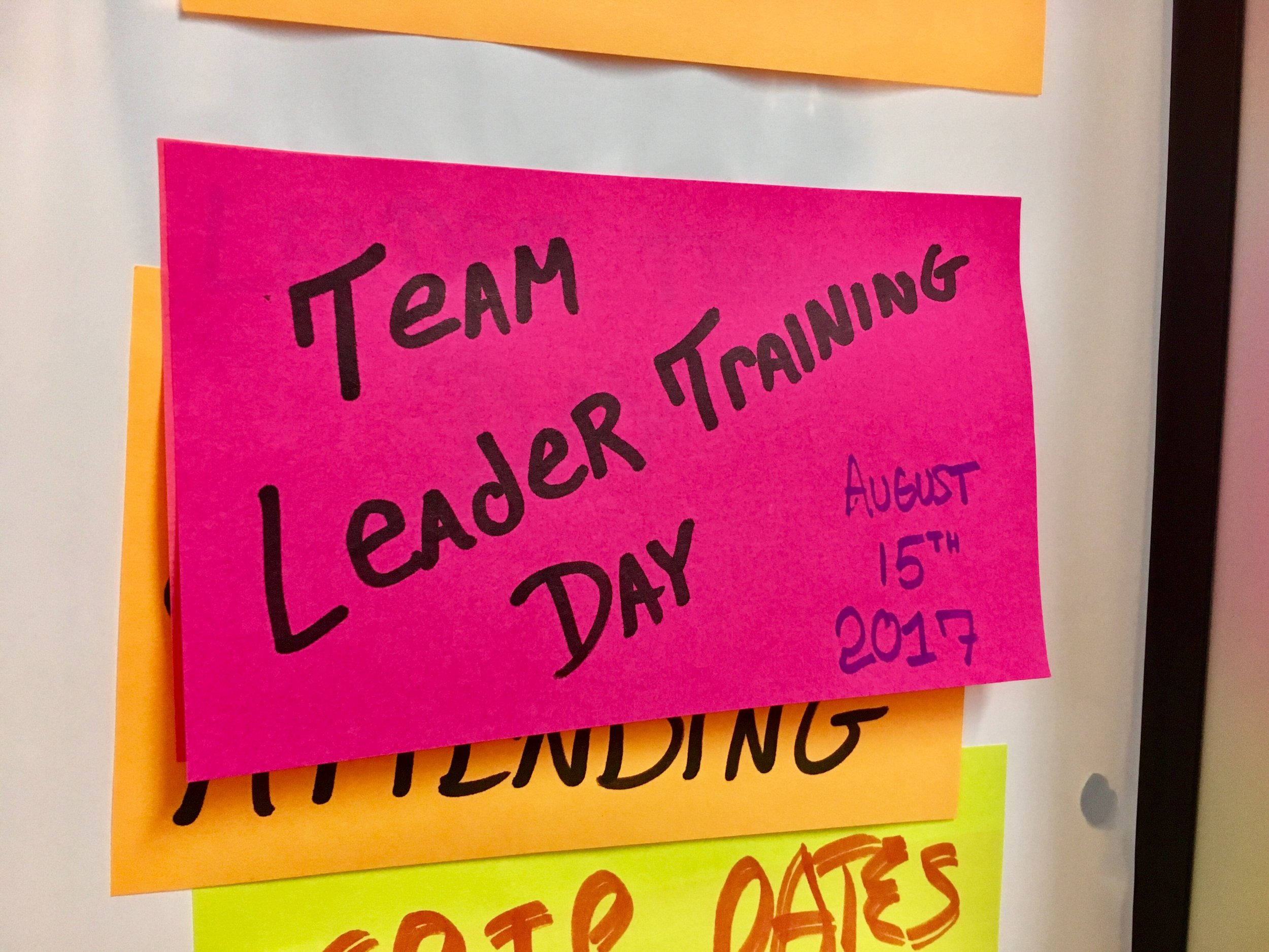 Our Team Leader Training Day kicks off Tuesday, August 15th, 2017 at our Brooklyn Office