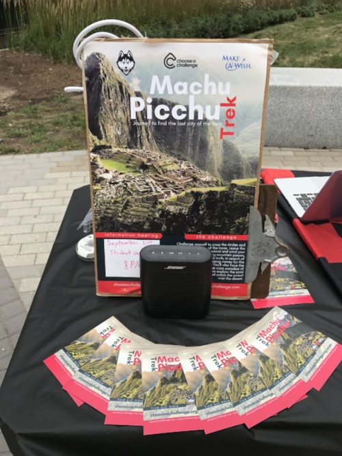 Promotional table from one of our visits to the University of Connecticut on 9/21/17