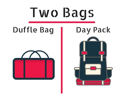 "A suitcase is also fine instead of a duffle bag. I recommend a duffle bag because you will be repacking your gear into a special duffle bag provided by your tour guides. Your ""Day Pack"" is your 30 liter hiking bag that you will carry every day on the trail."
