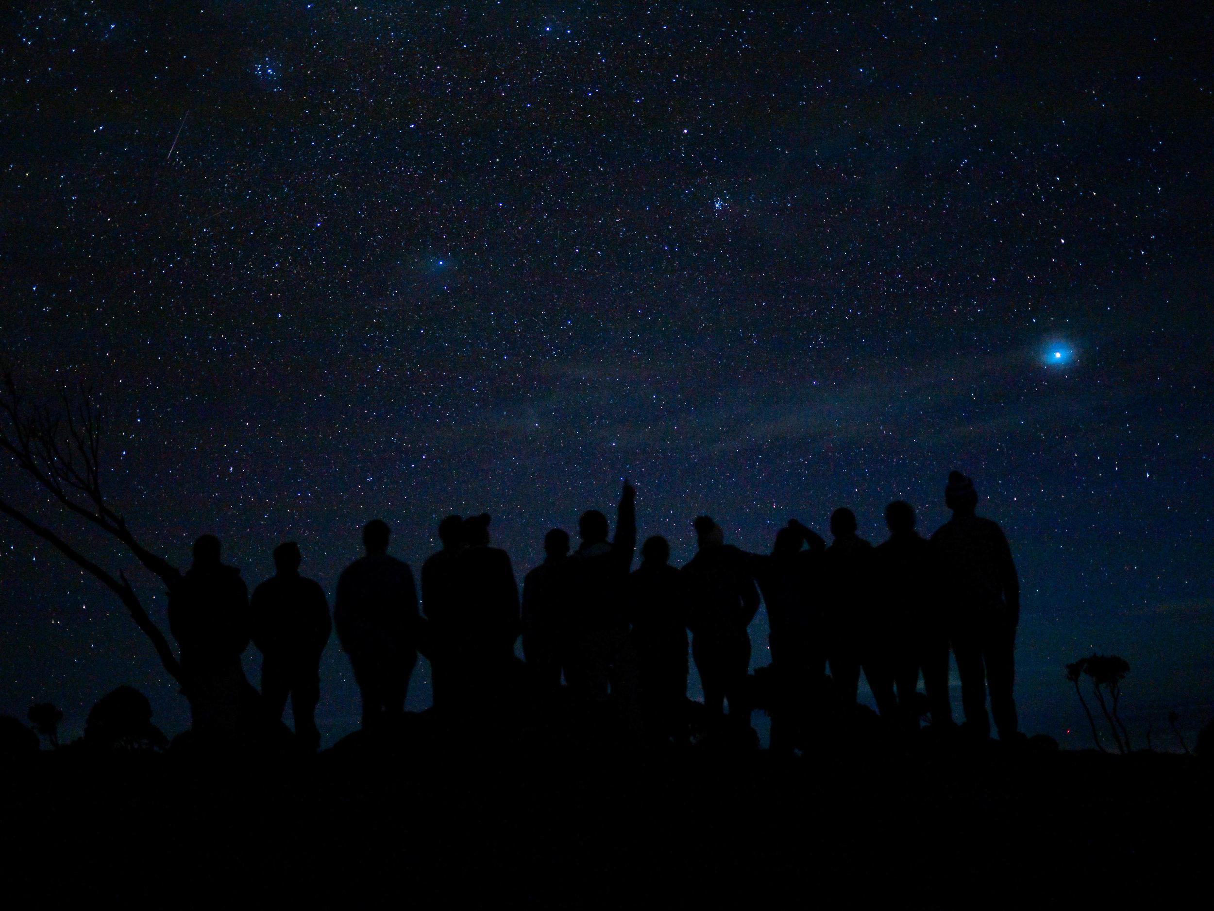 The UConn Kilimanjaro team overlooks the stars