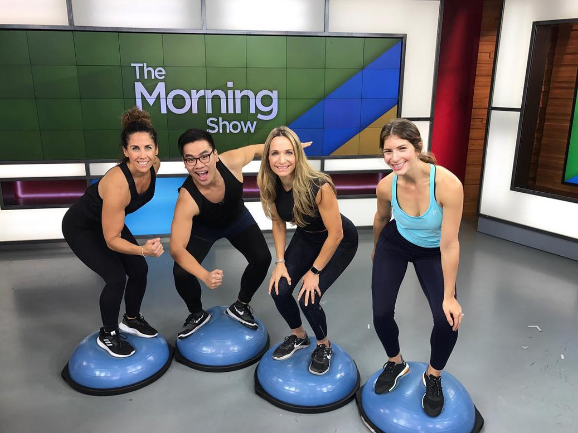 #GiFTsquad breaking down the best BOSU moves to Burn off the Bird 🐓! 💪🍁 Always a fun time on The Morning Show  @globaltv !
