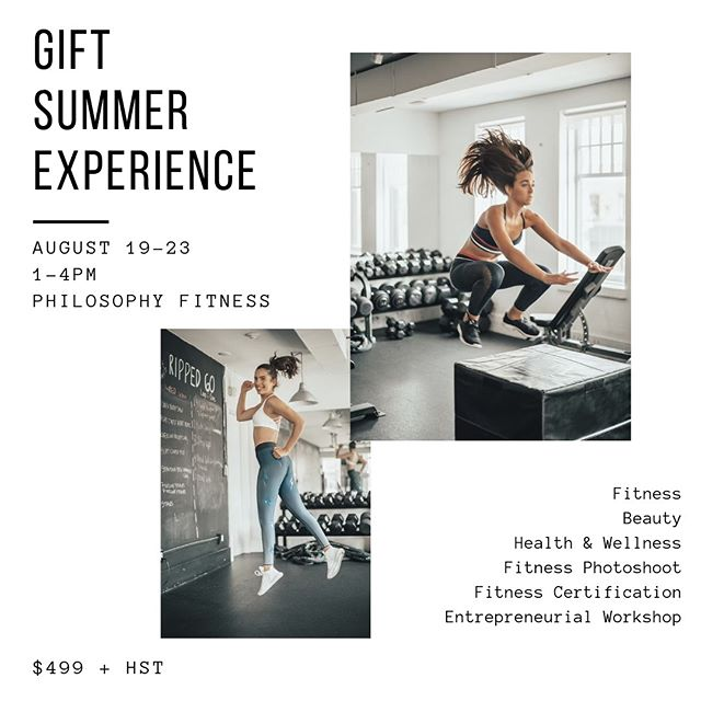 The GiFT Summer Experience is back - NEW & IMPROVED!  Mark your calendar August 19-23rd from 1-4pm at Philosophy Fitness.  We've curated the most brilliant experience…fitness, beauty, health, wellness, photoshoot, entrepreneurial workshop.  PLUS, this year we are including our very own signature ✨GiFT Fitness Leadership Training Certificate✨  This certification will allow girls to become eligible to shadow teach GiFT classes next year. Learn: 1️⃣Basics of anatomy 2️⃣Cuing, motivation, and voice work 3️⃣How to create inspirational playlists 4️⃣How to build a program & the different styles of programming 5️⃣Customize your own fitness program and teach it back to the class  WAIT…MORE! ➡️💥S W A G  B A G S💥 ➡️Healthy Snacks ➡️1 hr fitness class ➡️1hr Fitness Leadership Training ➡️1hr awesome daily workshops on beauty, wellness, etc.  So cool and so fun. Link in bio to register - spots are limited so sign up soon. Price increases after July 1st.