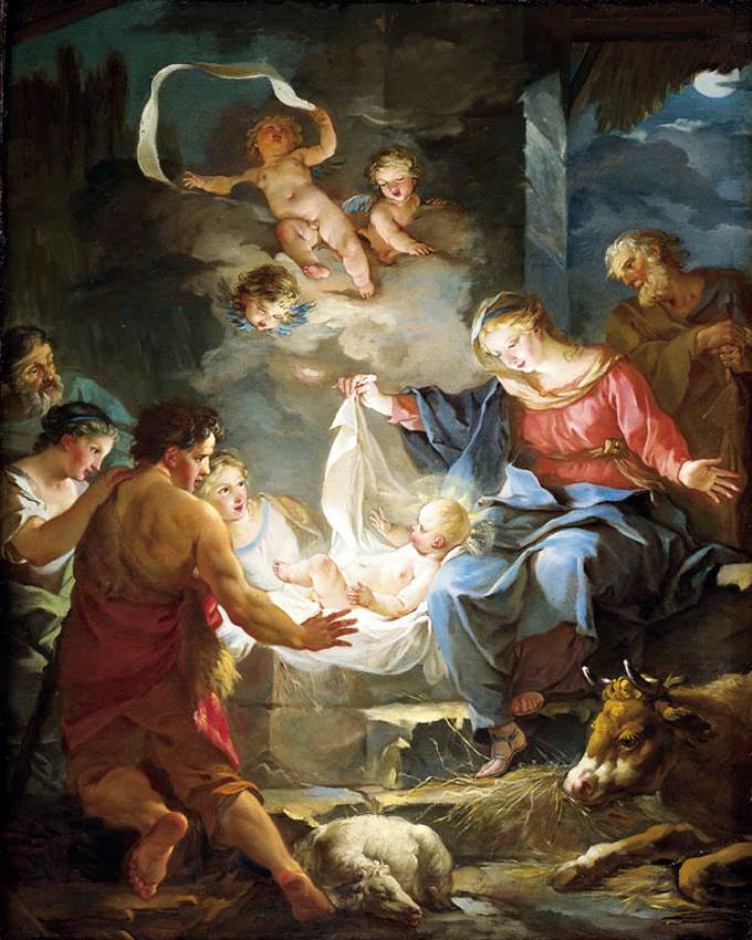 Nativity,  Jean-Baptiste Marie Pierre, mid 18th century.