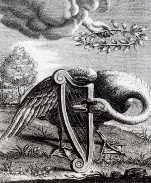 "Titelpage of ""Den singende swaen"" (""The singing swan"") by Willem de Swaen te Gouda. Engraving made by Reinier van Persijn in 1655."