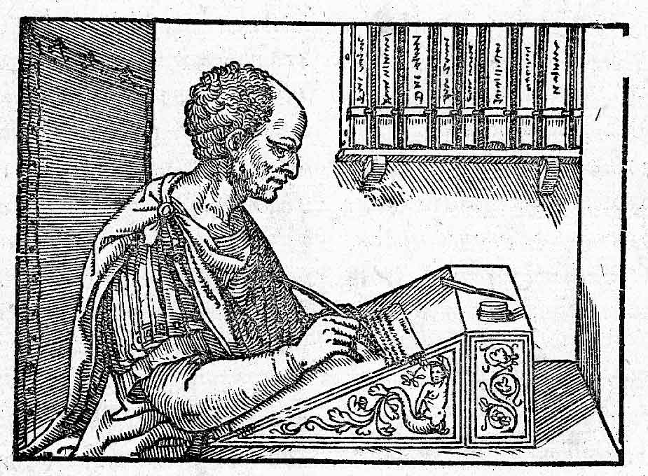 Cicero at his desk writing Epistulae ad Familiares, woodcut from 1547.