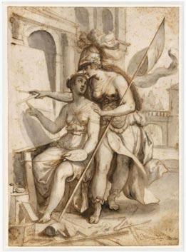 """""""Minerva teaches Pictura"""" by Adam van Noort from 1598."""