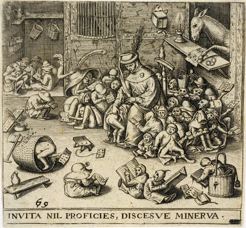 Engraving from 1569, made after Pieter Brueghel the elder's  Drawing-ass in school  - from 1556. (Can you spot the ass?)