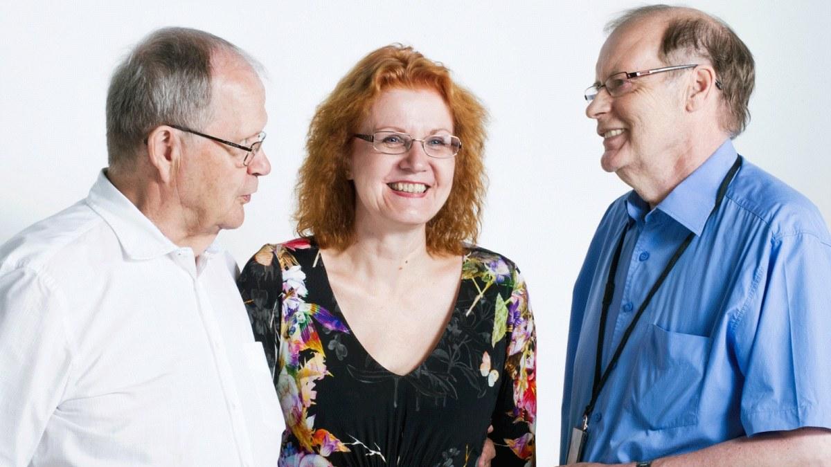 The creators of Yle's  Nuntii Latini : Tuomo Pekkanen, Virpi Seppälä-Pekkanen and Reijo Pitkäranta. Photo by: Laura Mainiemi